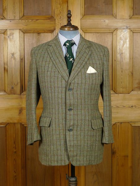 19/0467 vintage n h chapman savile row bespoke windowpane check tweed jacket made for peer of the realm 40-41 short to regular