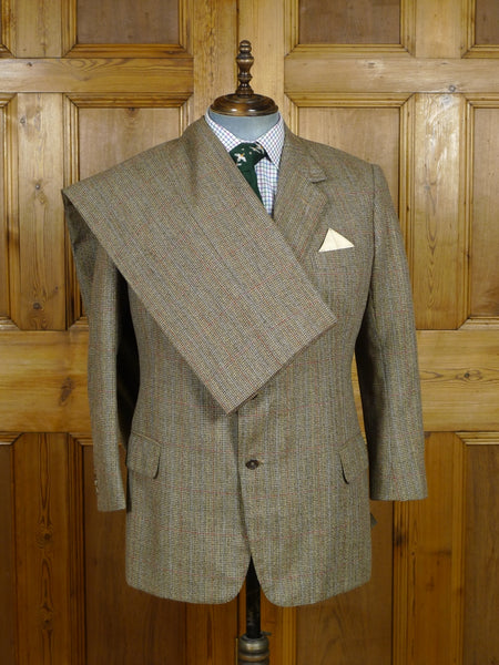 19/0470 vintage n h chapman savile row bespoke windowpane check heavyweight worsted country suit made for peer of the realm 42 short to regular
