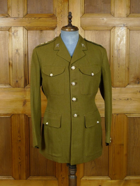 19/0491 vintage savile row tailored army officer's green tunic jacket w/ buttons 40 regular
