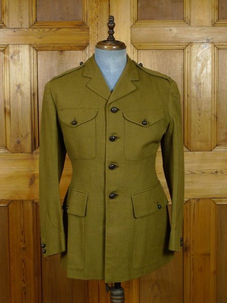 19/0489 vintage savile row tailored army officer's green tunic jacket 38-39 regular