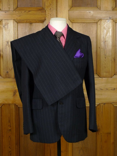 19/0531 vintage 1970s bespoke tailor canvassed wide lapel / flared leg charcoal grey pin-stripe worsted suit 38 regular