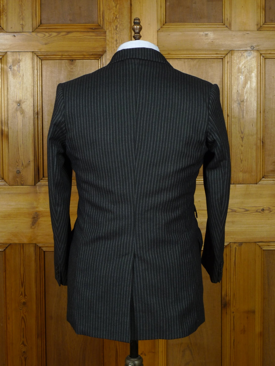 19/0543 vintage 1950s 1960s canvassed grey tram-stripe heavyweight 3-piece worsted suit 42 short