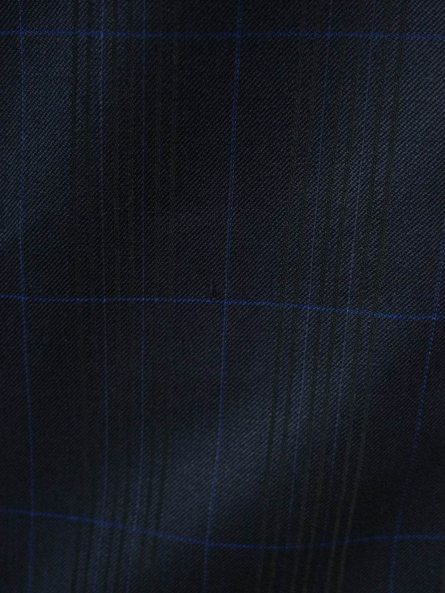 19/0557 near immaculate bespoke tailored canvassed black / blue overcheck textured wool & mohair suit 39  short to regular