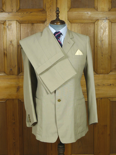 19/0644 delightful vintage savile row bespoke beige worsted suit w/ 2 pair trs 43 regular to long