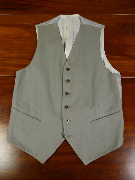 19/0598 vintage tailor-made dove grey worsted twill morning waistcoat 34 regular to long