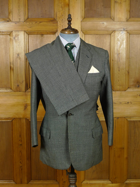 19/0602 superb 1960 vintage savile row bespoke black & grey dogtooth check worsted twist 3-piece suit 38 regular