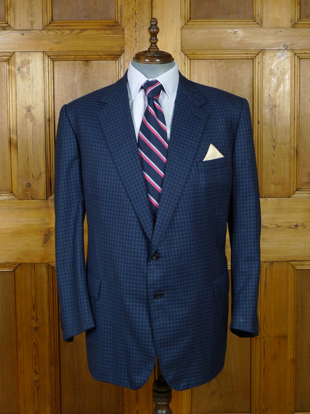 19/0613 immaculate 2001 welsh & jefferies savile row bespoke blue graph check wool sports jacket blazer 49 regular