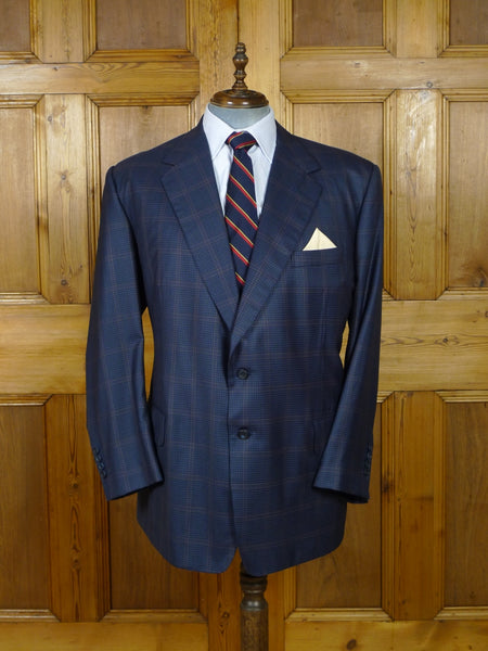 19/0612 immaculate 2012 savile row bespoke blue windowpane check wool sports jacket blazer 50 regular