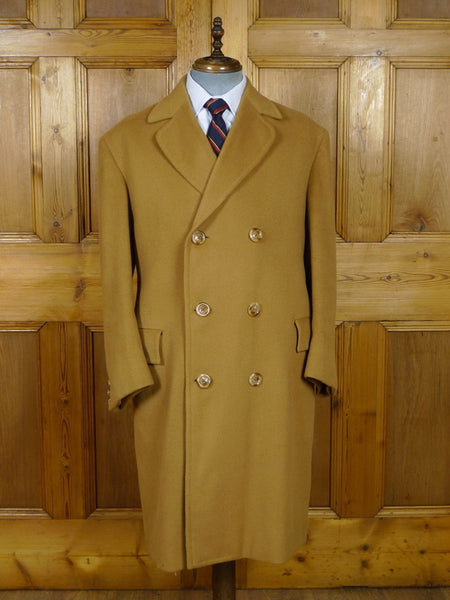 19/0641 stunning 1966 vintage bespoke tailored wool & cashmere d/b camel coat overcoat 42 regular