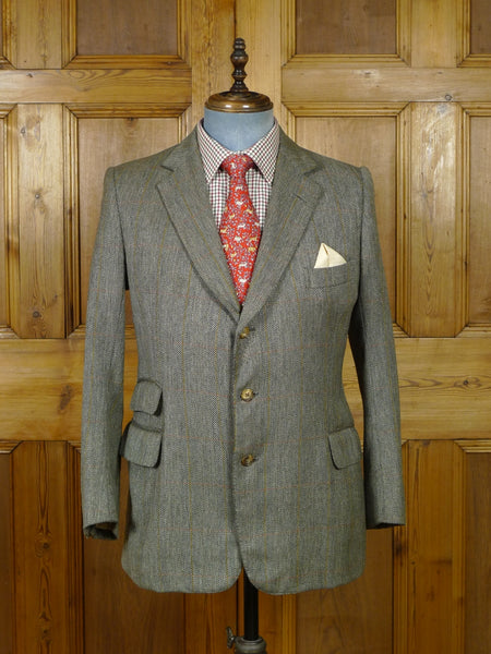 19/0648 vintage savile row bespoke green windowpane check tweed jacket 39 short