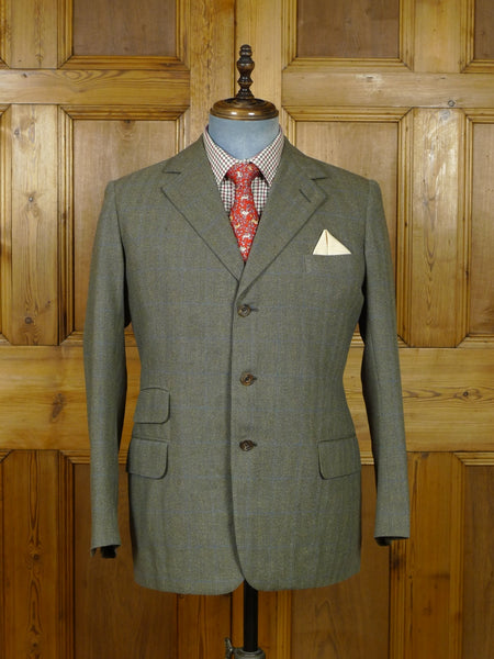 19/0642 vintage savile row bespoke brown windowpane check tweed sports jacket 40-41 short