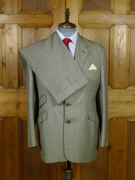 19/0650 superb vintage savile row bespoke heavyweight prince of wales check worsted suit 41 regular
