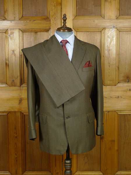 19/0663 anderson & sheppard 2000 savile row bespoke brown birds-eye weave wool suit w/ gauntlet cuff 48-49 short