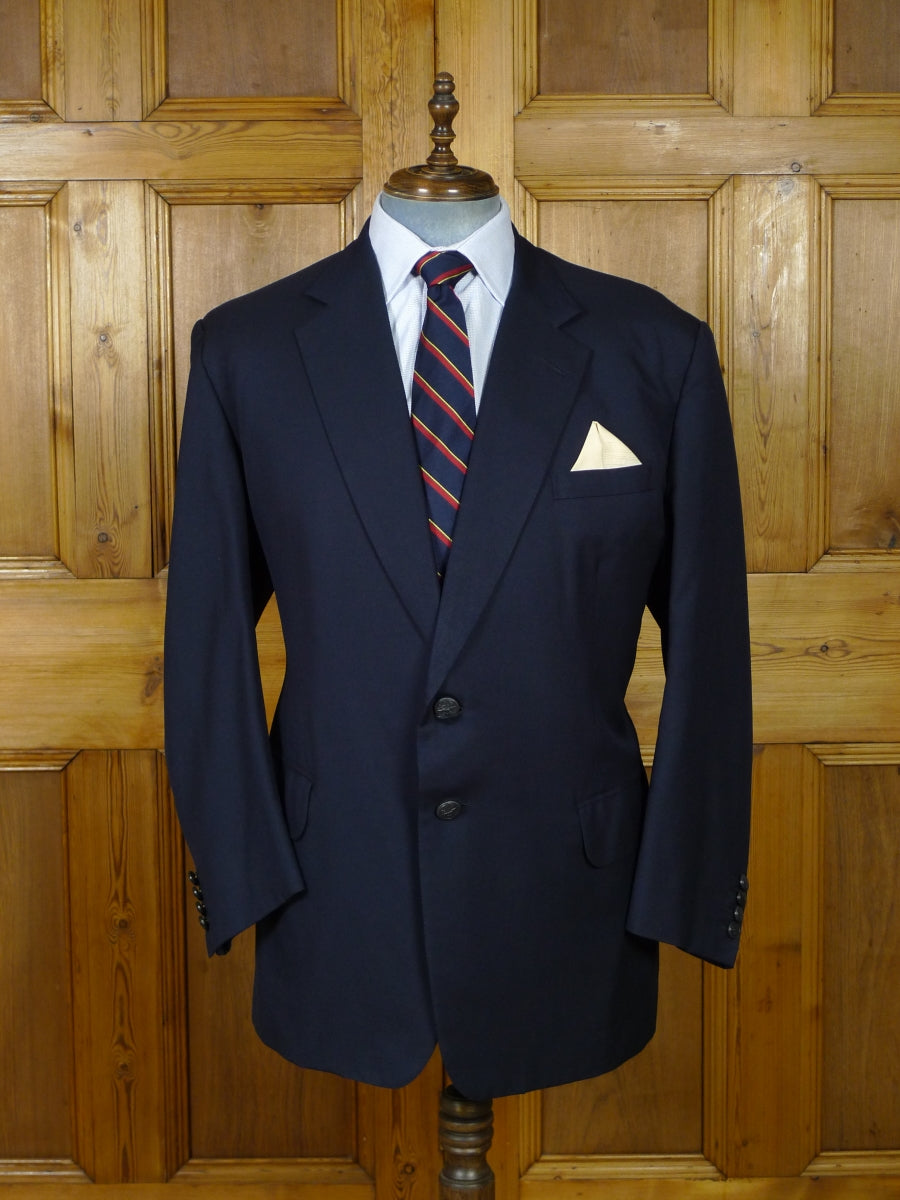 19/0671 welsh & jefferies 2009 savile row bespoke navy blue wool blazer w/ RAF buttons 50 regular