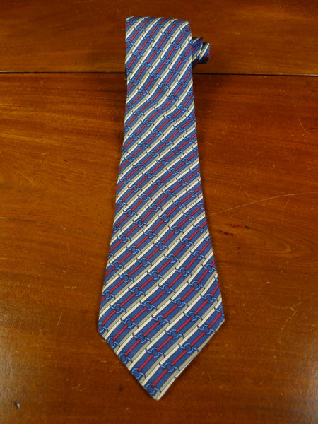 19/0708 immaculate hermes 988 sa blue red grey striped 100% silk tie