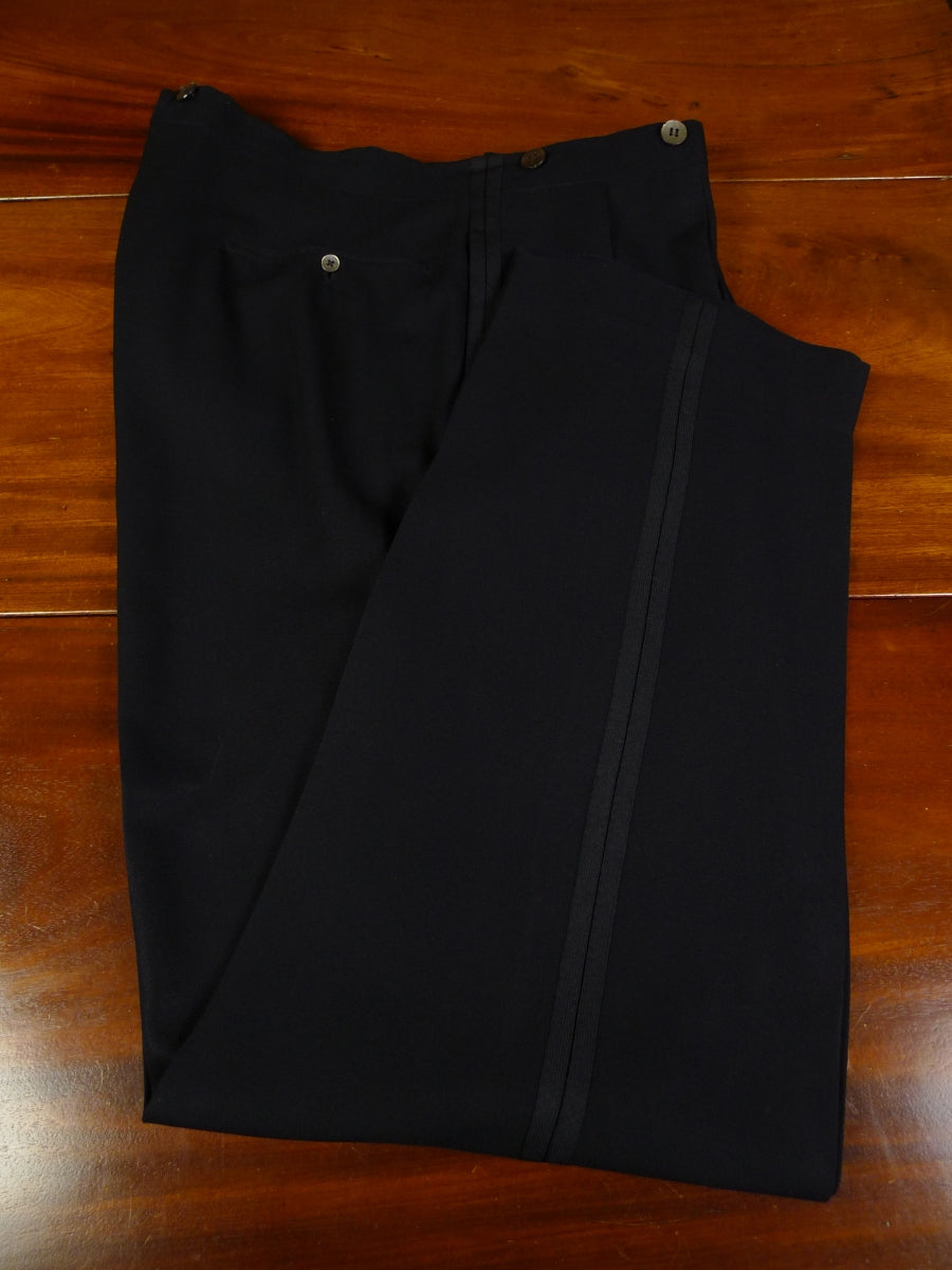 19/0726 vintage 1953 savile row bespoke midnight blue barathea wool 'twin stripe' evening tailcoat trouser 39