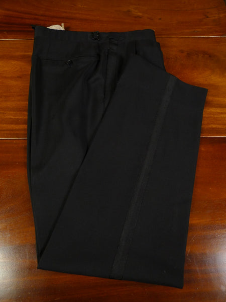 19/0725 vintage 1980 huntsman savile row bespoke black mohair evening trouser 36-41
