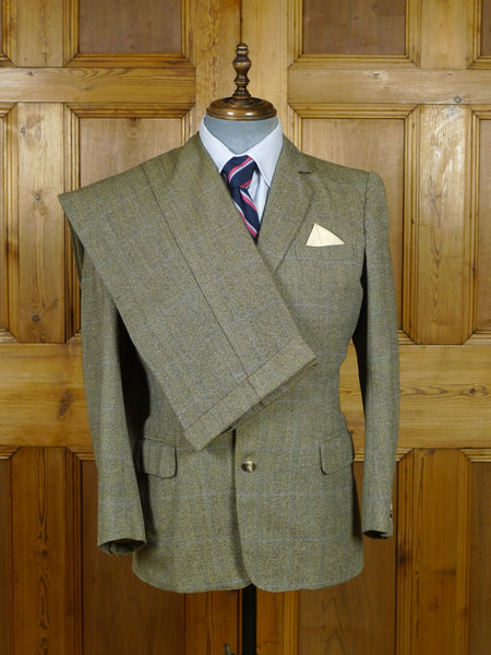 19/0729 stunning vintage henry poole savile row bespoke grey h/bone / blue wp check worsted 3-piece suit 38 short