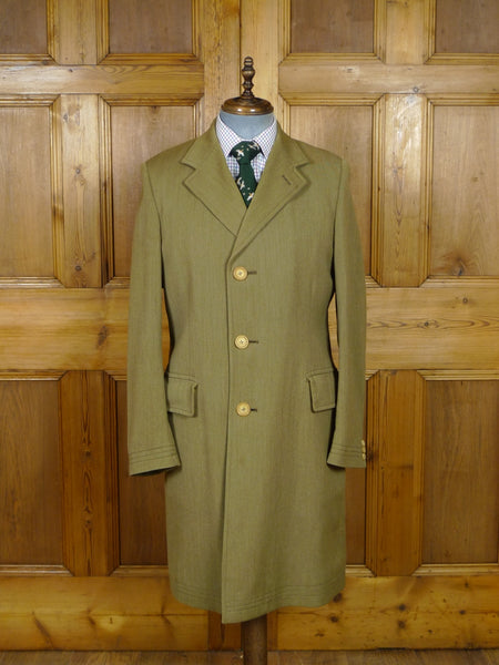 19/0734 wonderful vintage invertere 100% wool ventian twill covert coat w/ tattersall check wool lining 42 long