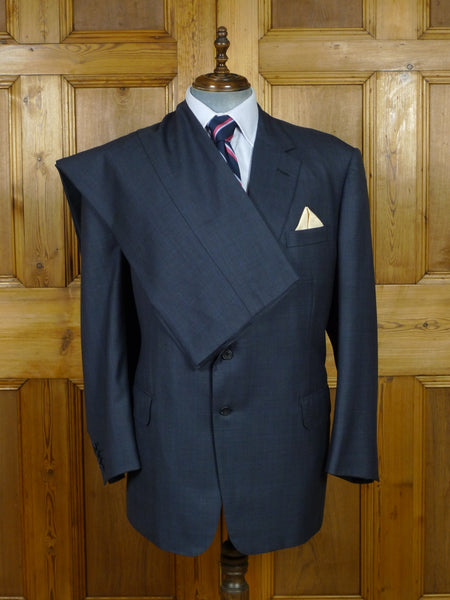 19/0718 immaculate welsh & jefferies 2010 savile row bespoke navy blue windowpane check suit 50-51 regular