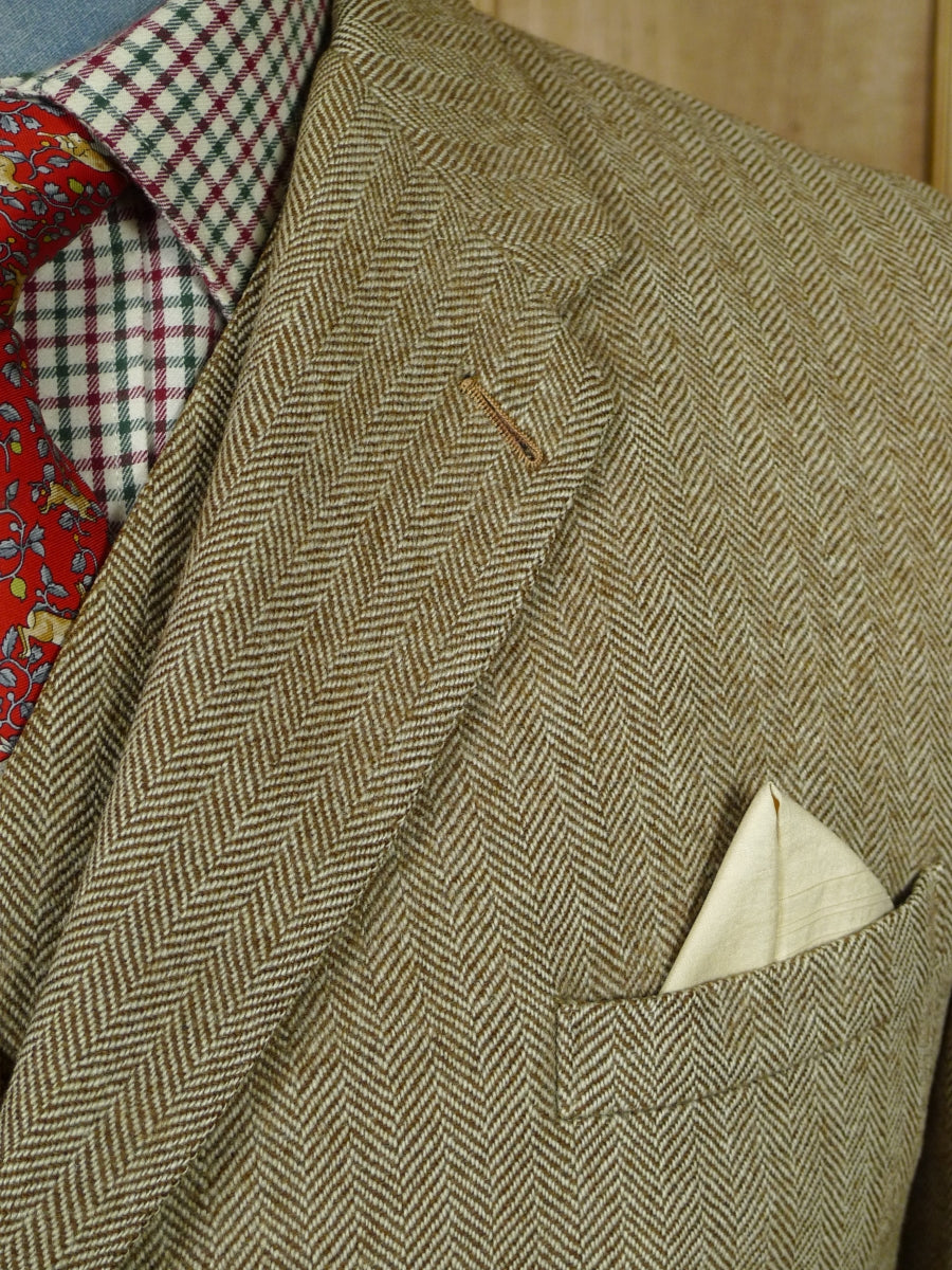 19/0753 superb vintage savile row bespoke canvassed fawn herringbone tweed 3-piece suit 40 short