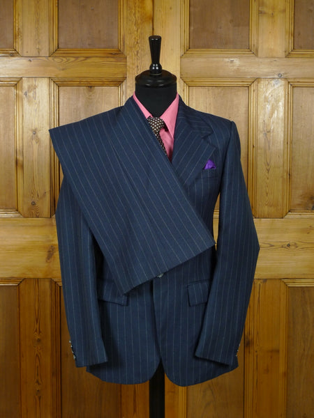 19/0713 wonderful genuine 1970s vintage blue pin-stripe wool mix suit w/ wide lapel & flared leg 34 long