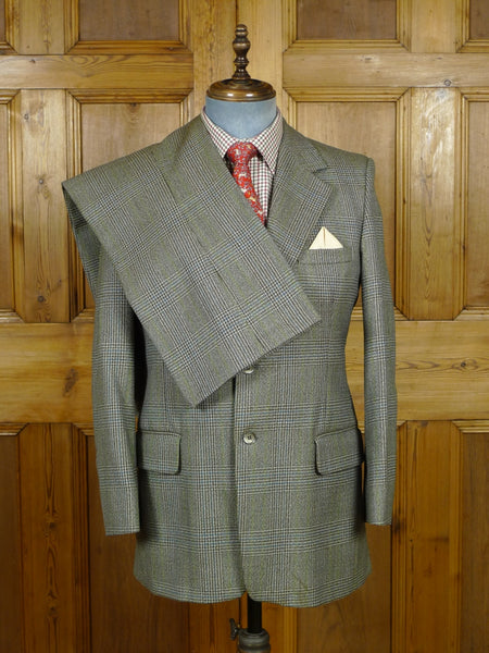 19/0816 vintage glen check worsted twist suit for vintage revivals 40 short