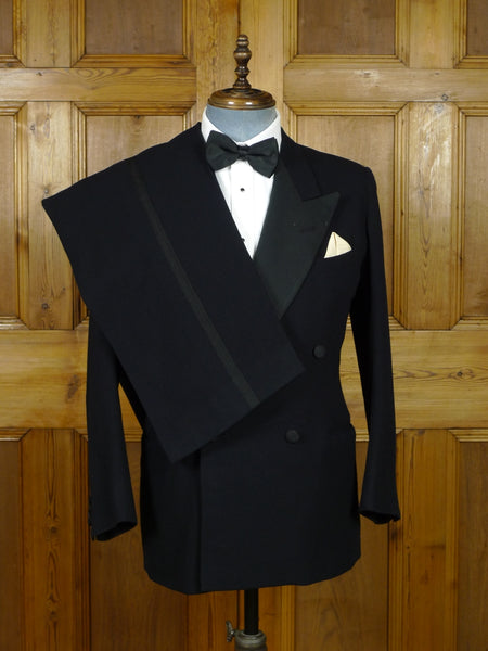 19/0764 vintage savile row bespoke heavyweight black barathea / grosgrain silk d/b dinner suit 37-38 short to regular