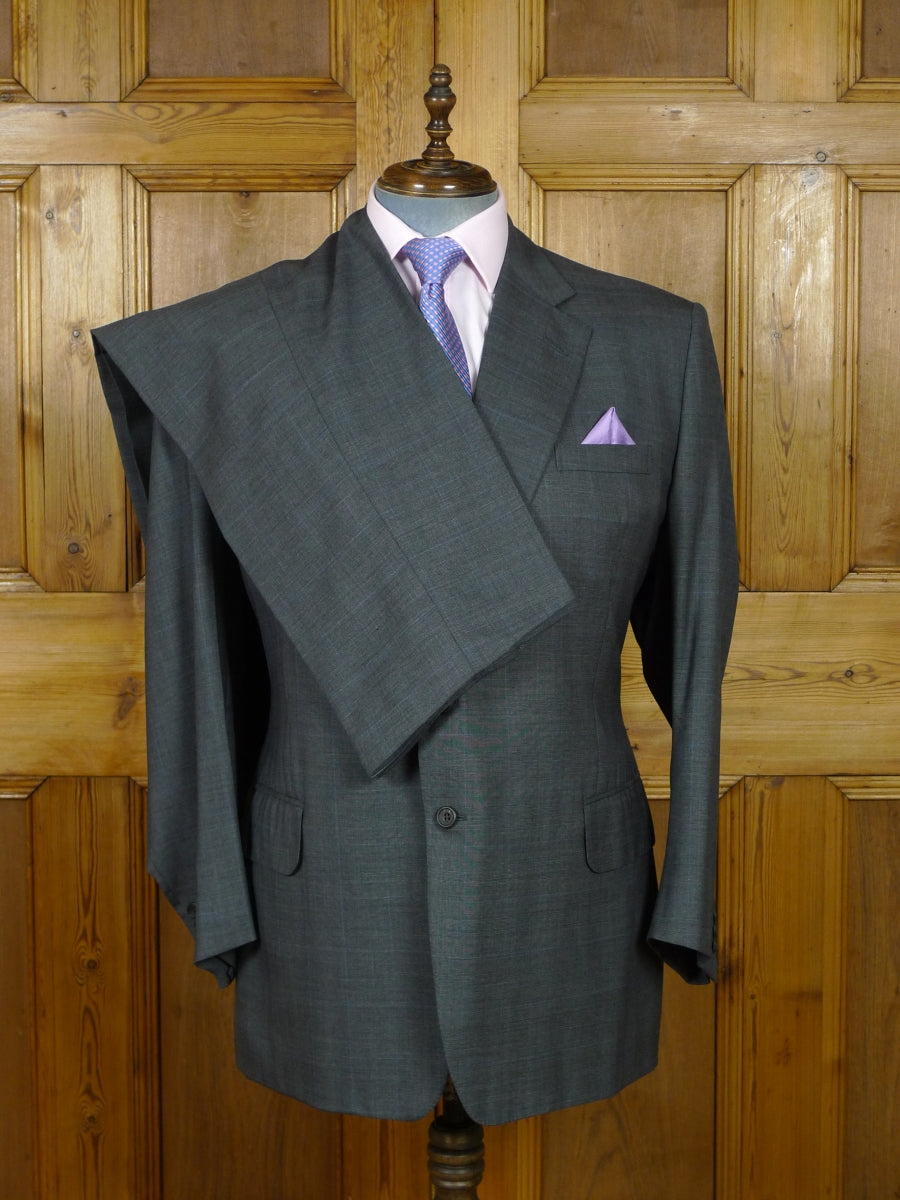 19/0776 welsh & jefferies 2008 savile row bespoke grey / blue overcheck wool & cashmere suit 49 regular