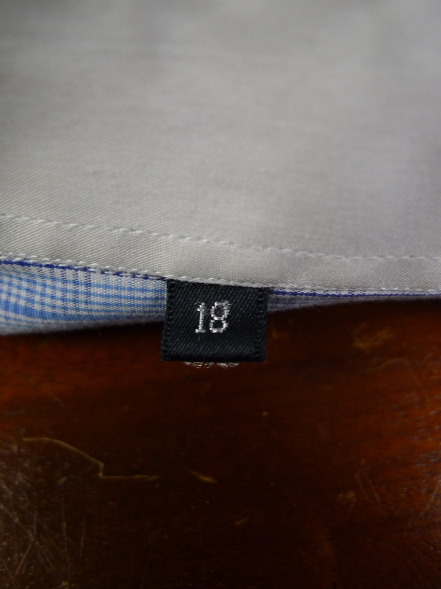 19/0804 immaculate ascot & henley burlington arcade navy blue / light blue dealer check double cuff 100% cotton shirt 18