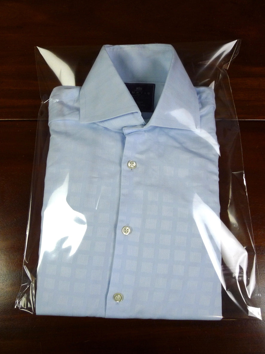 19/0808 near immaculate hawes & curtis light blue block check single cuff 100% cotton shirt extra large