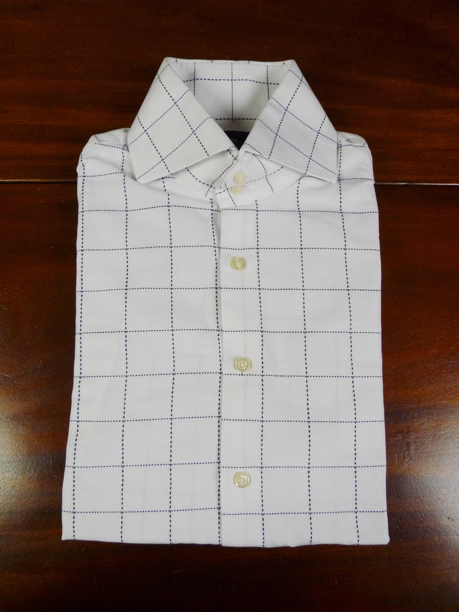 18d130dd 19/0796 hawes & curtis white / dark navy blue graph check slim fit single  ...