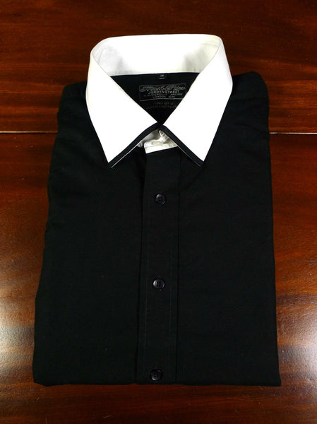 19/0811 near immaculate neal & palmer black / white dealer double cuff super fine cotton shirt 18