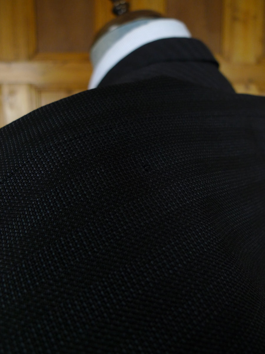 19/0818 superb john cole 1962 city of london bespoke charcoal / blue dot worsted 3-piece suit 38-39 short to regular