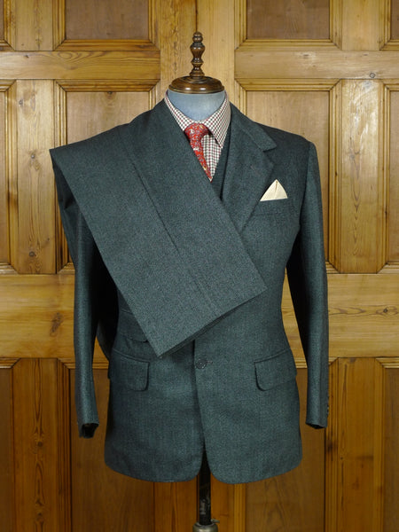 19/0819 near immaculate 1982 anderson & sheppard savile row bespoke grey barleycorn weave 3-piece tweed suit 41 short