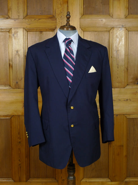 19/0827 immaculate welsh & jefferies 2012 savile row bespoke navy blue superfine wool blazer 51 regular