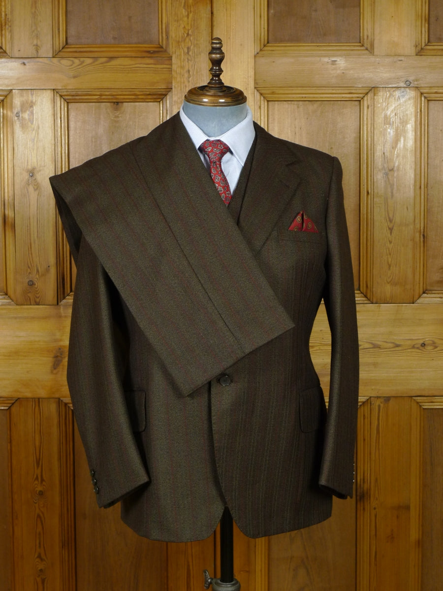 19/1015 vintage bespoke tailor canvassed worsted twist brown pin-stripe suit for vintage revivals 41 short