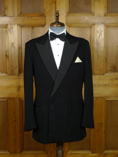 19/0825 hackett london black barathea / grosgrain silk d/b dinner jacket 43 extra-long