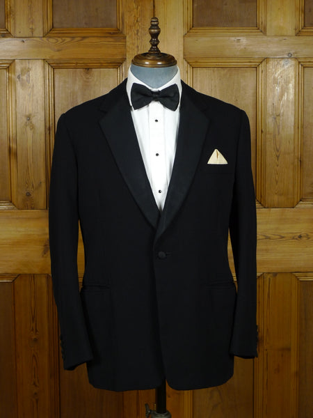 19/0826 vintage 1964 savile row bespoke black barathea / grosgrain silk s/b dinner jacket 41 short to regular