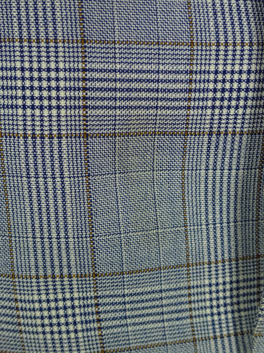 19/0832 vintage savile row bespoke grey / tan windowpane check worsted sports jacket blazer 46-47 short