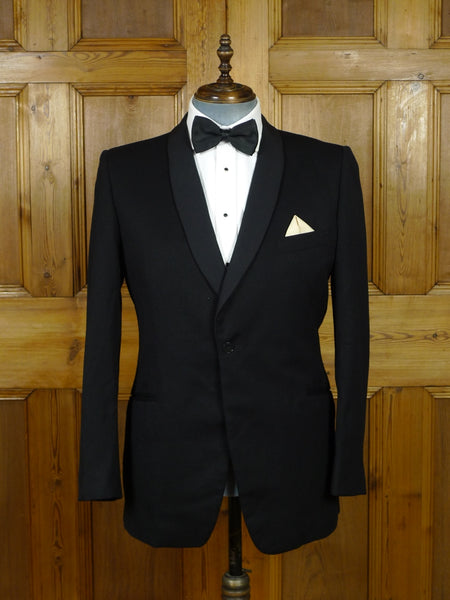 19/0831 vintage london w1 bespoke canvassed black barathea / grosgrain shawl dinner jacket 42 regular