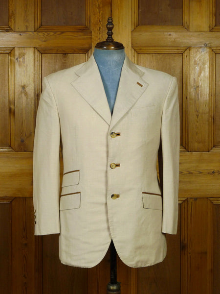 19/0861 sartoria santarelli loro piana beige linen mix sports jacket blazer w/ silk trims 42 short