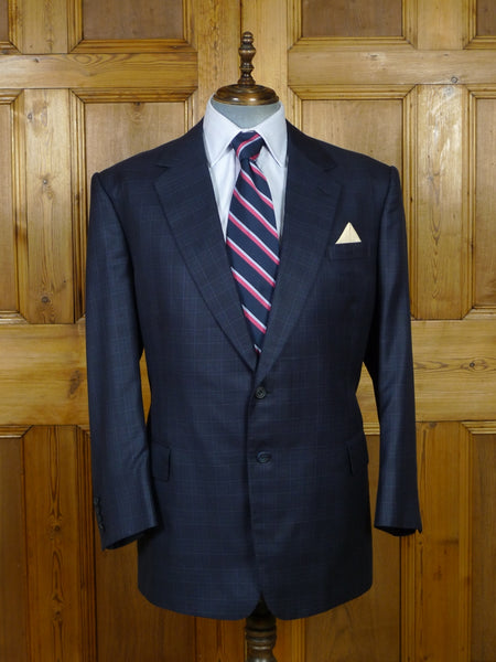19/0824 malcolm plews 2013 savile row bespoke blue windowpane check wool sports jacket blazer 50 regular