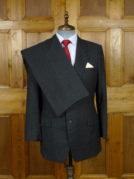 19/0844 sam's tailor hong kong bespoke canvassed grey worsted flannel suit 40 short to regular