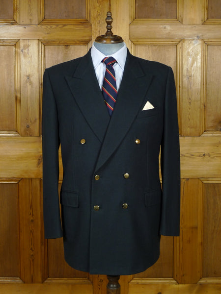 19/0838 vintage gieves & hawkes savile row navy blue d/b wool blazer 46 long