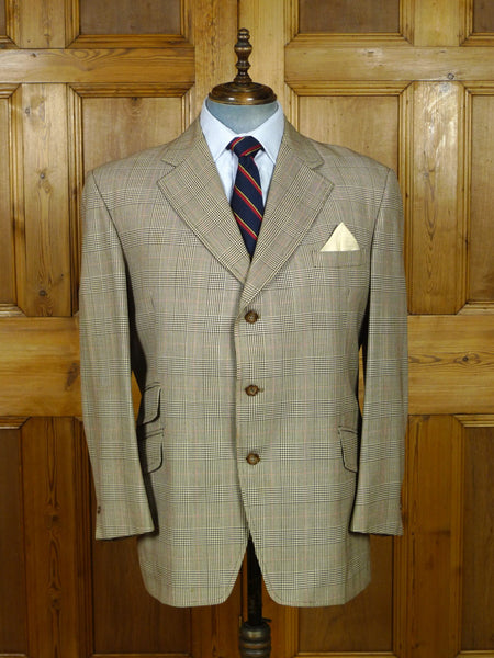 19/0839 vintage london w1 bespoke prince of wales check worsted sports jacket blazer 45 short to regular