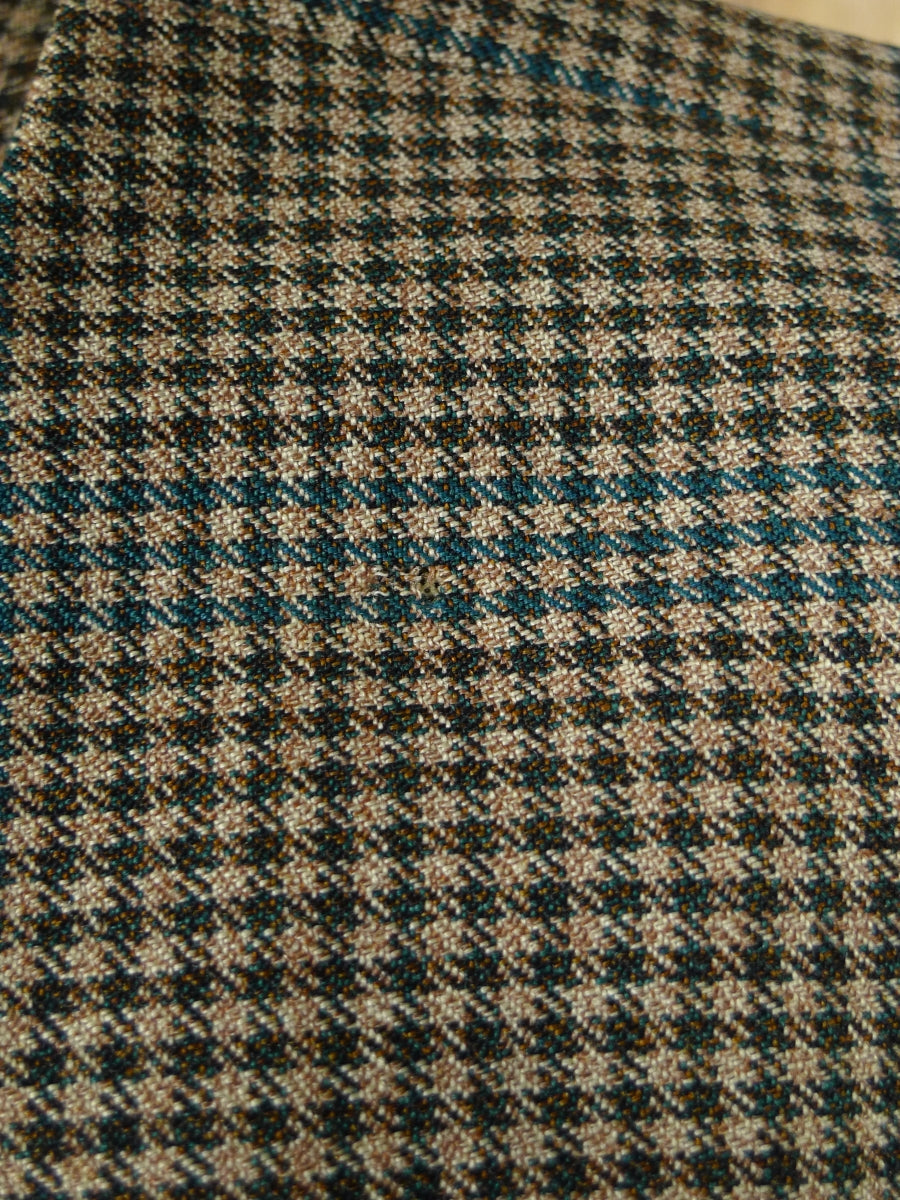 19/0841 vintage 1966 london w1 bespoke gun check worsted twist sports jacket w/ action back 44-45 short to regular