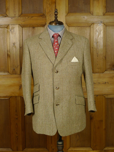 19/0850 near immaculate 2006 norton & sons savile row bespoke beige windowpane check tweed jacket 43-44 short
