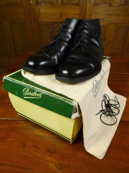 19/0853 immaculate paraboot 'montlord' black dress boot w/ box, extra pair of laces & bags 9.5