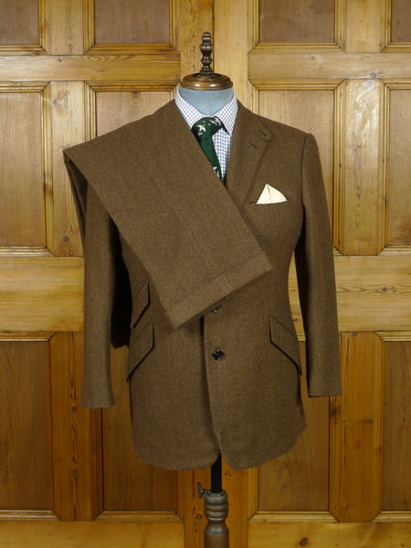19/0857 ralph lauren purple label 100% cashmere 3-piece brown herringbone suit (minor damage) 42 short